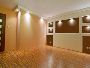 new basement finishing dark and light brown paint
